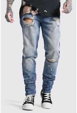 Antique blue Tapered Rigid Stacked Leg Exploded Knee Jean