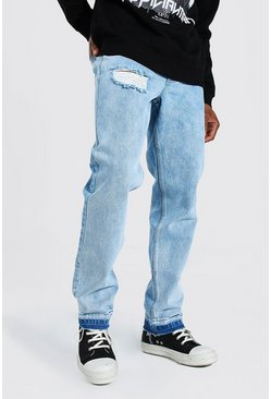 Ice blue Straight Leg Rigid Contrast Distressed Hem Jean