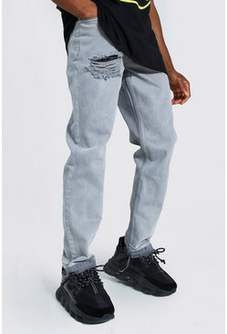 Ice grey Straight Leg Rigid Contrast Distressed Hem Jean
