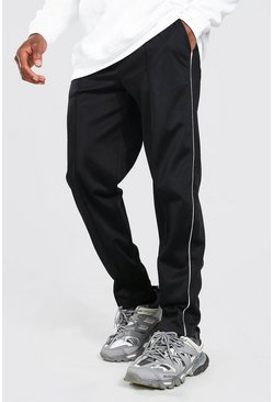 Black Loose Fit Pintuck Tricot Joggers With Side Piping