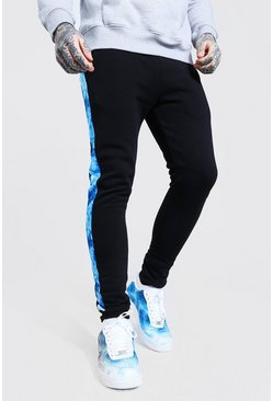 Blue Skinny Fit Tie Dye Panel Joggers