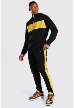 Black MAN Colour Block Half Zip Tracksuit