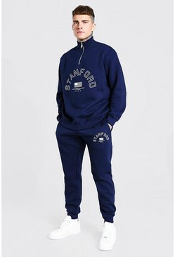 Oversized Stanford Print Half Zip Tracksuit, Navy