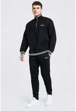 Black Oversized MAN Ribbed Half Zip Tracksuit