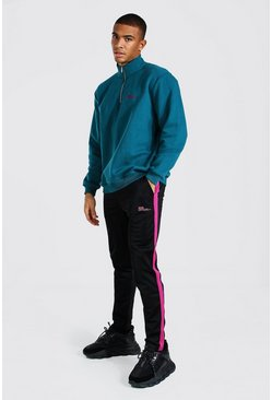 Teal Oversized MAN Official Half Zip Tricot Tracksuit