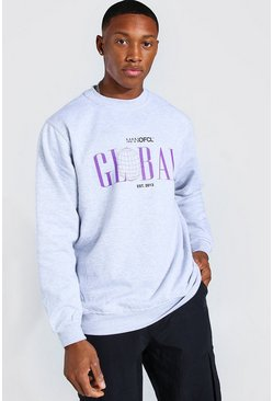 Light grey Oversized MAN Global Print Sweatshirt
