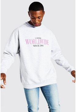 Light grey Oversized Worldwide Print Sweatshirt