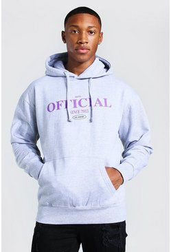 Light grey Oversized Official Print Hoodie