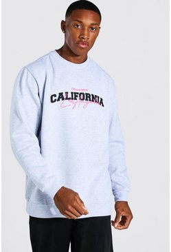 Light grey Oversized California Print Sweatshirt