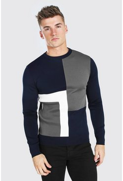 Navy Colour Block Muscle Fit Knitted Jumper