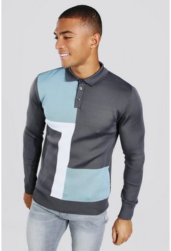 Pale blue Colour Block Muscle Fit Long Sleeve Polo