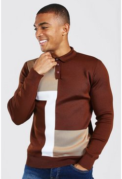Chocolate Colour Block Muscle Fit Long Sleeve Polo