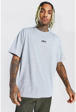 Grey marl Official Oversized Embroidered T-Shirt