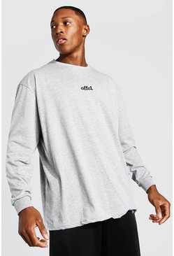 Grey marl Official Oversized Long Sleeve T-Shirt