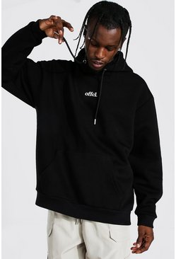 Black Official Oversized Embroidered Hoodie