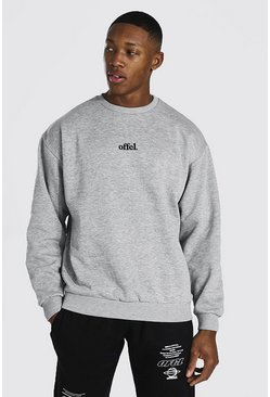 Sweat oversize brodé Official, Grey marl