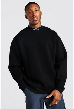 Black Official Oversized Extended Neck Sweater