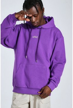 Sweat à capuche oversize brodé Official, Purple