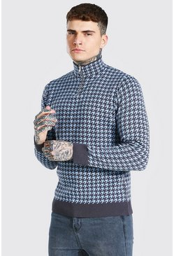 Blue Half Zip Dogtooth Knitted Jumper