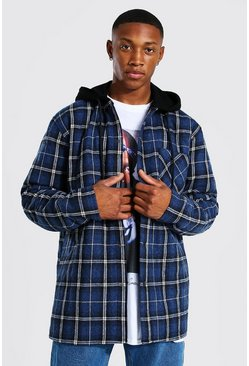 Navy Quilted Utility Flannel Overshirt With Hood