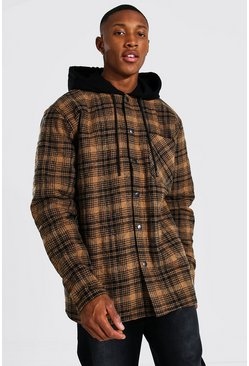 Brown Quilted Utility Flannel Overshirt With Hood