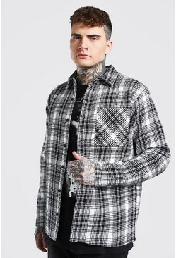 Ecru Quilted Check Overshirt