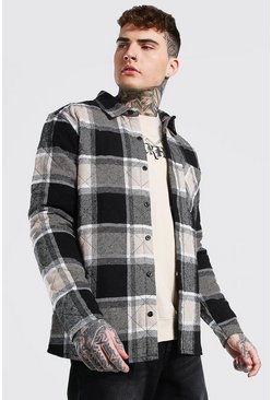 Taupe Large Check Quilted Overshirt