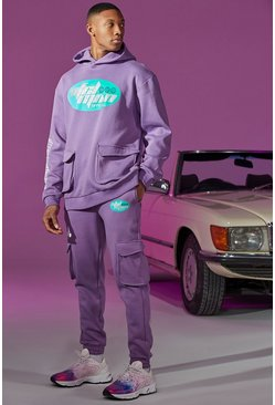 Purple Oversized Cargo Printed Tracksuit