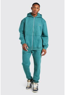 Teal Oversized Official Overdyed Zip Hooded Tracksuit