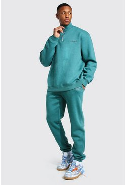 Teal Oversized Overdyed Funnel Neck Tracksuit