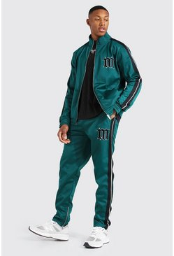 Green Slim Fit M Tricot Tape Funnel Tracksuit