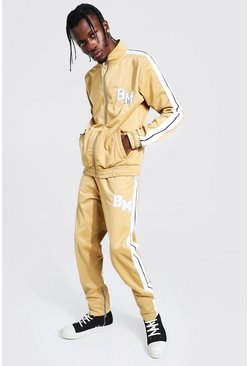 Taupe Slim Fit BM Tricot Tape Funnel Tracksuit