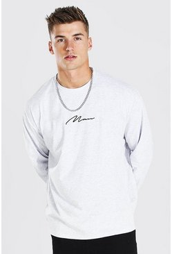 Ash grey Oversized Long Sleeve MAN Signature T-Shirt