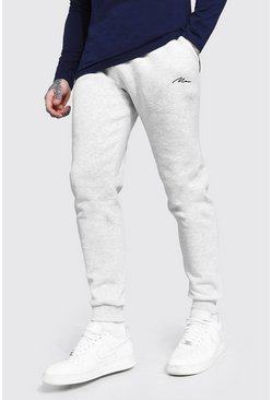 Ash grey Slim Fit MAN Signature Embroidered Jogger