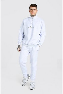 Ash grey MAN Signature Oversized Half Zip Tracksuit