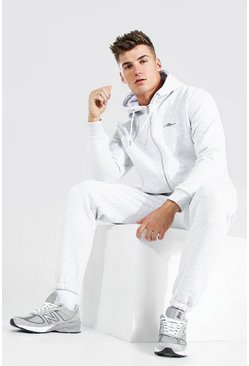 Ash grey MAN Signature Zip Through Tracksuit