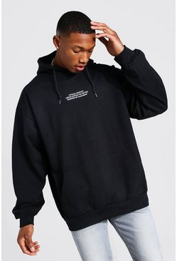 Official Box Print Oversized Hoodie, Black
