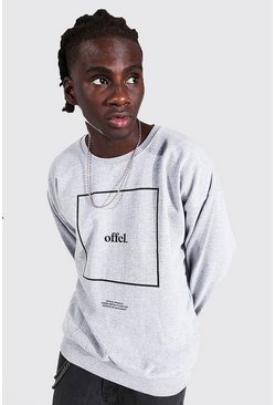 Official Box Print Oversized Sweatshirt, Grey marl