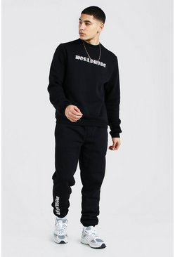 Black Worldwide Print Sweater Tracksuit