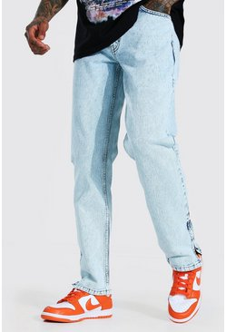 Ice blue Straight Leg Side Zip Jean