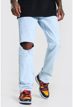 Ice blue Straight Leg Exploded Knee Frayed Hem Jean