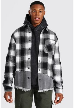 Grey Denim Spliced Flannel Over Shirt