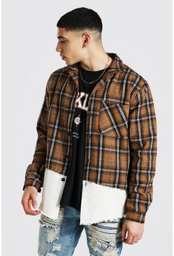 Tan Denim Spliced Check Over Shirt