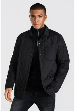 Black Quilted Coach Padded Overshirt