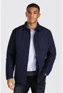 Navy Quilted Coach Padded Overshirt