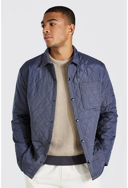 Charcoal Quilted Coach Padded Shirt Jacket
