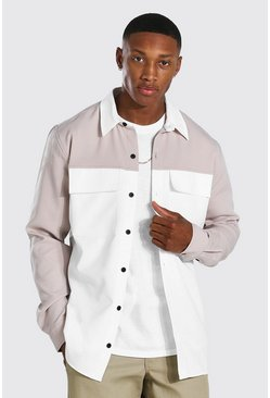 Taupe Smart Colour Block Utility Overshirt