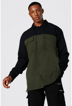 Khaki Smart Colour Block Utility Overshirt