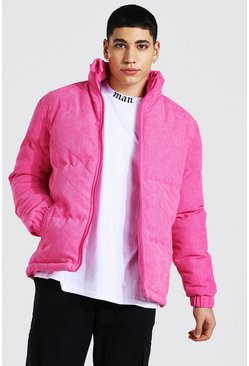 Pink Corduroy Funnel Neck Puffer
