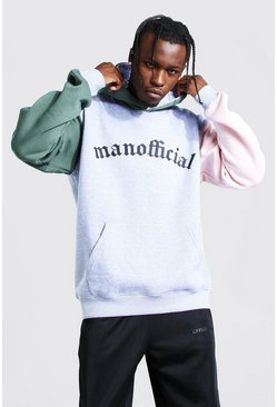 MAN Official Hoodie mit Colorblock-Bahn am Arm, Grau meliert